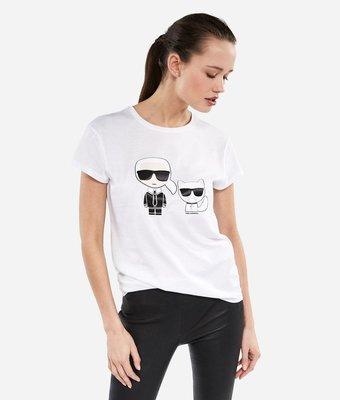 [預購XS-L] Karl Lagerfeld 女成Q版卡爾與愛貓短袖T恤 白/黑二色 運費優惠 其他尺寸款式可留言詢問