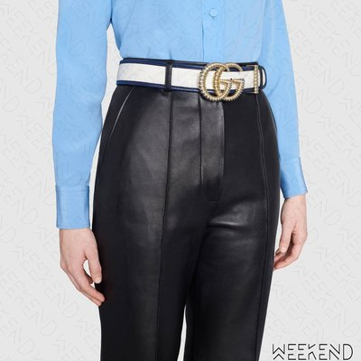 【WEEKEND】 GUCCI Double G 金屬扣環 腰帶 皮帶 4公分 雙色 藍邊 白色 576202