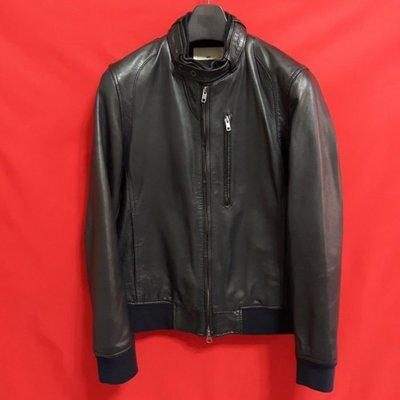 【全面優惠價】日本品牌HARE   高檔窄版素面百褡柔軟羊皮立領騎士皮衣 真皮
