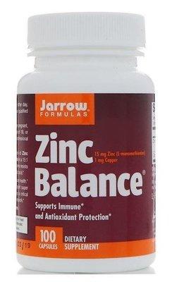 [正貨] Jarrow Formulas 鋅,高效能專利鋅(Zinc Balance),100粒(美國,含鋅,銅)