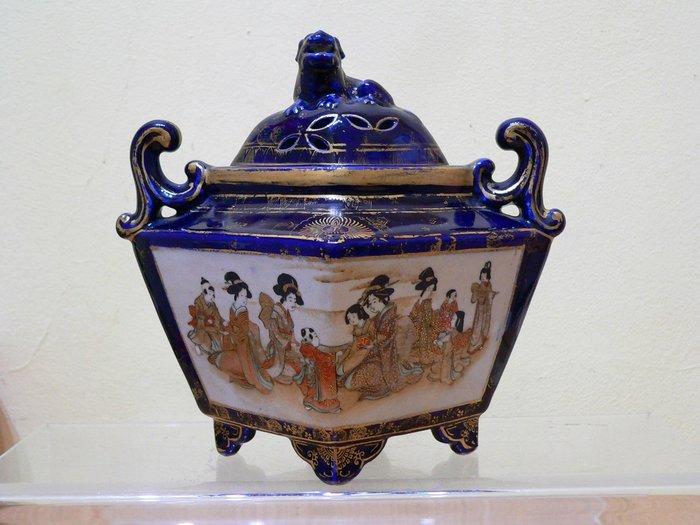 大世紀古董店  日本 大正時期  薩摩燒 品香爐 楠部 款