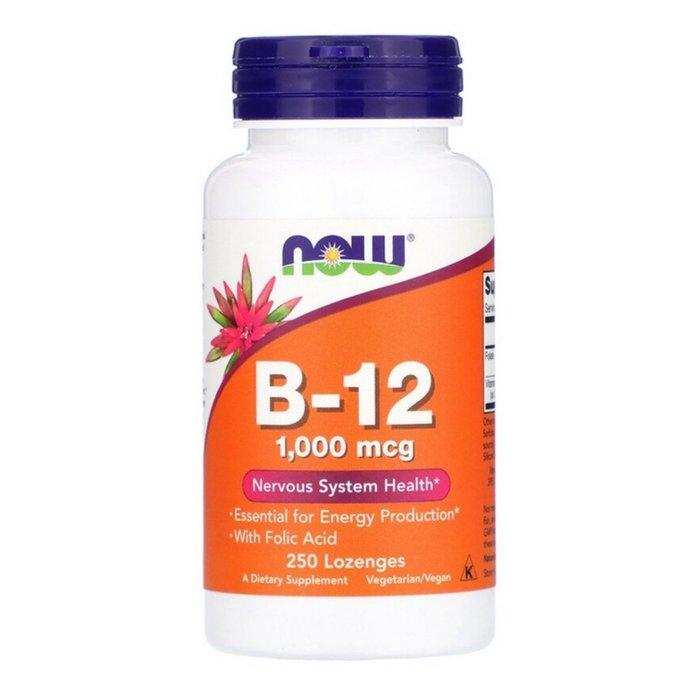 【Now Foods】B-12 (含葉酸) 口含片,產生能量,1000mcg,250片【純素 Vegan】| 預購