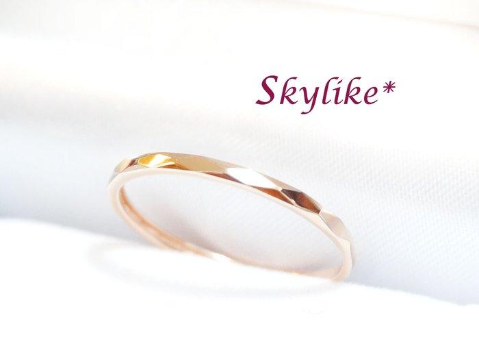 *SKYLIKE*輕珠寶網販獨賣-韓國進口585/14K金黃K金、玫瑰K金名牌風菱格紋亮面戒指,新貨到,RJ-4643k