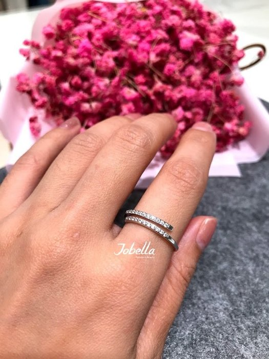 ✽JoBella✽ 925銀 雙條鑽造型戒指 現貨