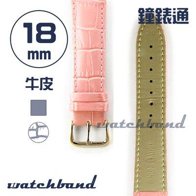 【鐘錶通】C1.33AA《霧面系列》鱷魚格紋-18mm 霧面櫻花粉┝手錶錶帶/皮帶/牛皮錶帶┥