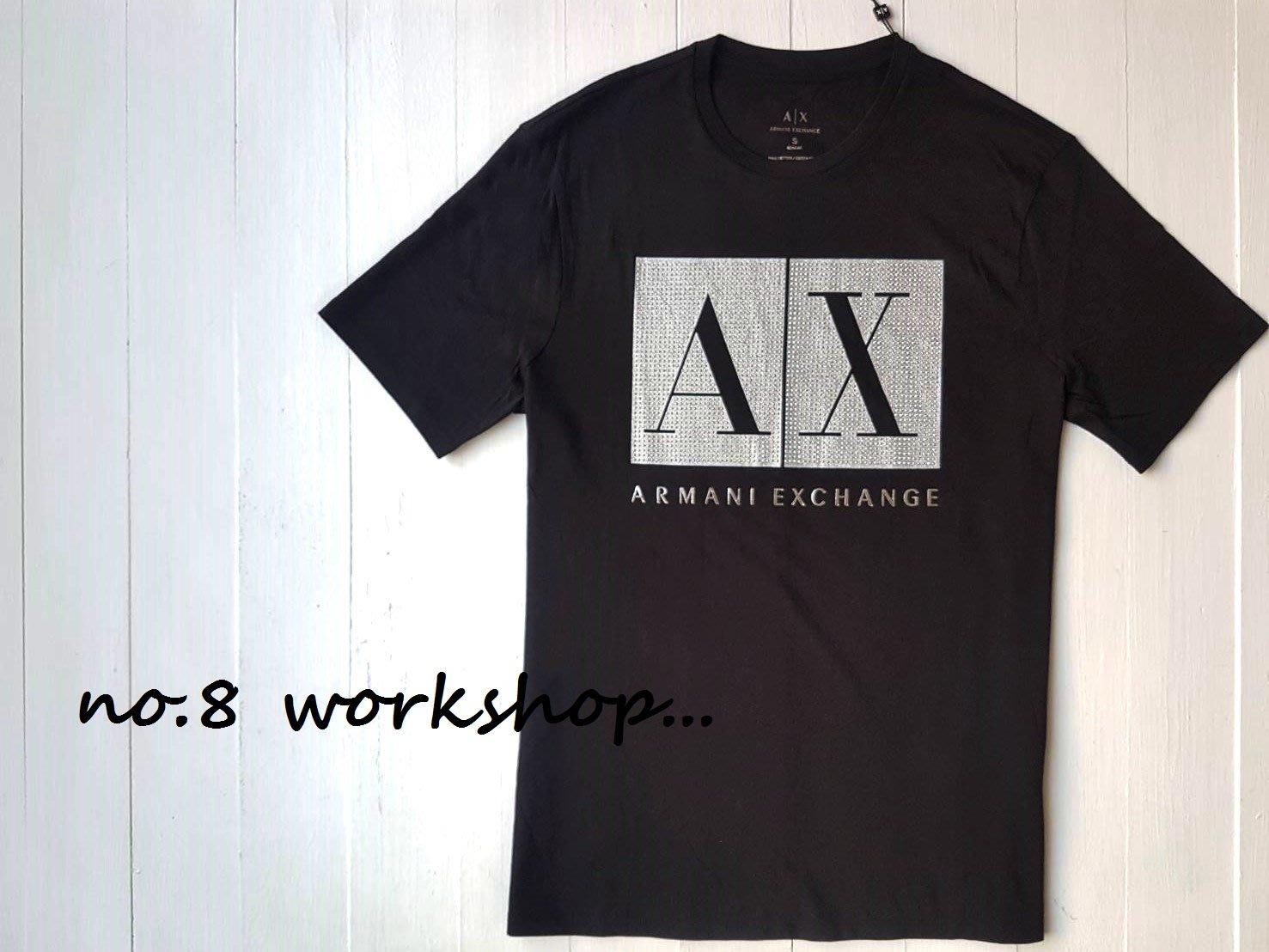 【AX男生館】【ARMANI 大LOGO貼鑽短袖T恤】【AX002M2】(XS-S-M-L-XL-XXL)