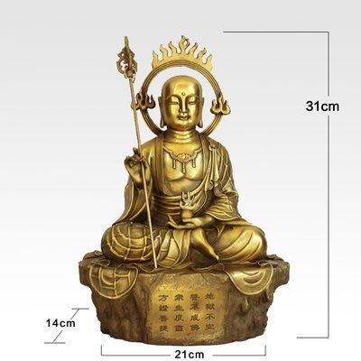 【凡了居】31厘米黃色 地藏王佛像純銅擺件全銅地藏菩薩銅像仿古供奉工藝品 雙福422