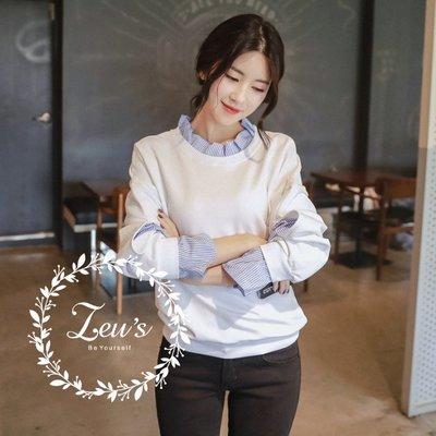 【ZEU'S】早秋新款慵懶寬鬆加厚假兩件襯衫『 09118603 』