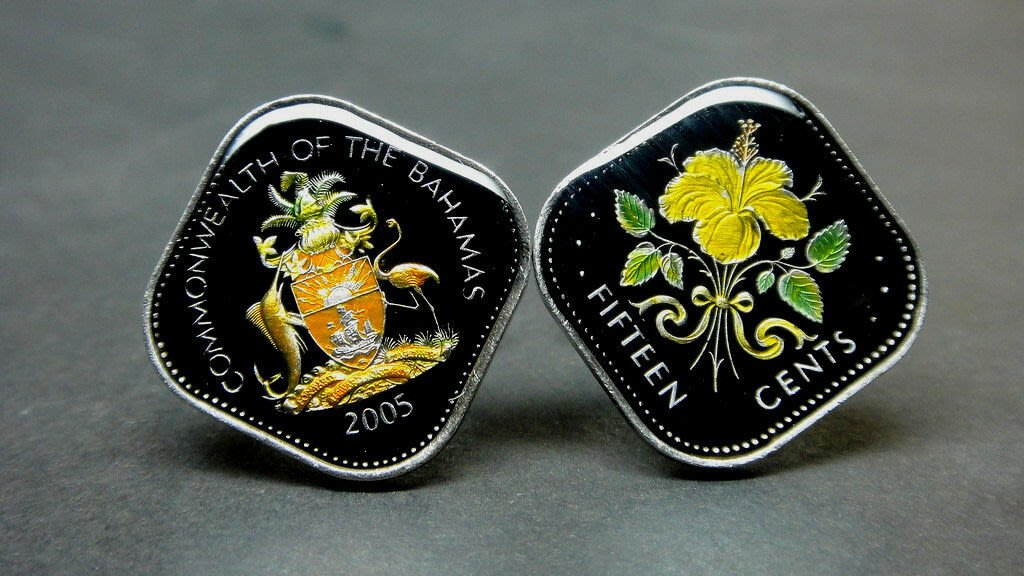 Commonwealth of the Bahamas enamelled coin cufflinks 15cent