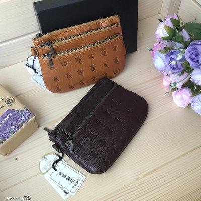 ♥︎MAYA日雜♥︎現貨 ??日本製 貓咪押紋 牛革 三拉鍊 分隔 財布包 零钱包 酒红色
