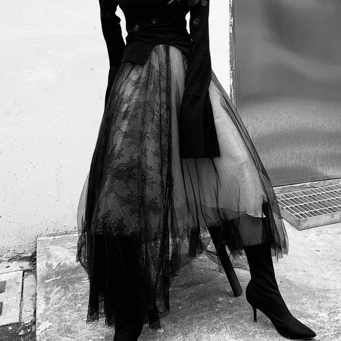 *菇涼家*春夏暗黑系朋克慵懒風chic蕾丝网纱拼接長裙網纱裙女半身裙蓬蓬裙