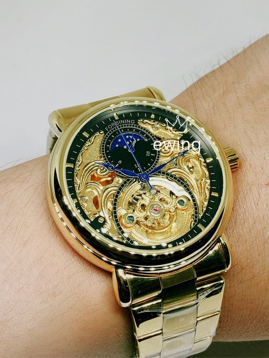 [靚錶閣]鏤雕月象飛輪品味機械腕錶.大錶徑