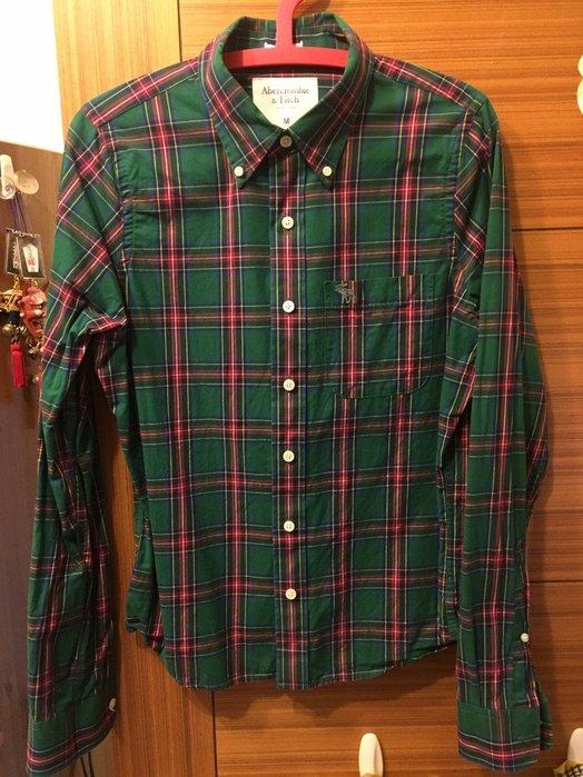 A&F  Abercrombie & Fitch厚款綠格紋襯衫 M號