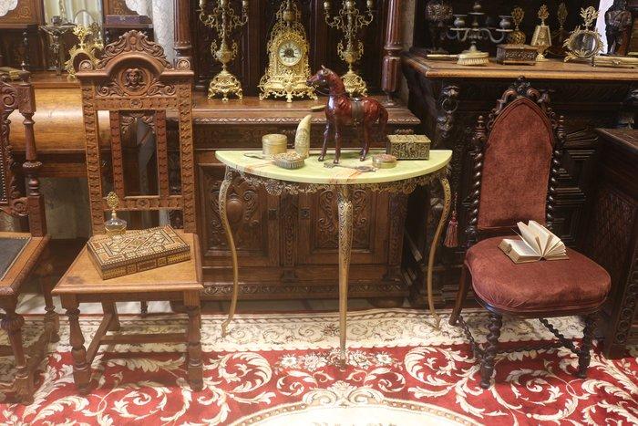 【家與收藏】賠售特價稀有珍藏歐洲古董法國精緻華麗銅浮雕珍貴大理石玄關桌