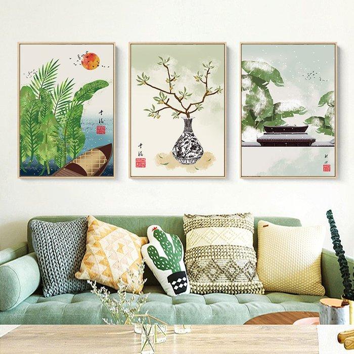 新中式禪意復古風植物花卉裝飾畫畫芯微噴繪打印畫芯掛畫壁畫畫心(不含框)