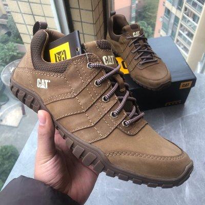 正品CAT/卡特新品低幫男鞋真皮休閒鞋工裝鞋黃棕色39-44