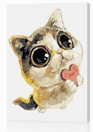 創意加~ DIY數字油畫~手繪人物.風景.動物.花卉.~愛情貓~40*50公分