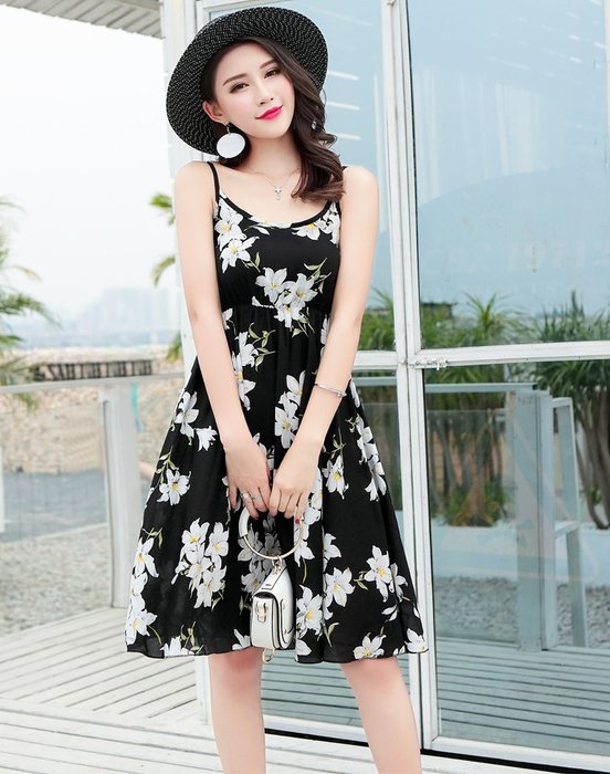 [C.M.平價精品館]新品特價M~3XL/嬌媚清爽舒適有型鬆緊腰圍細肩帶印花洋裝