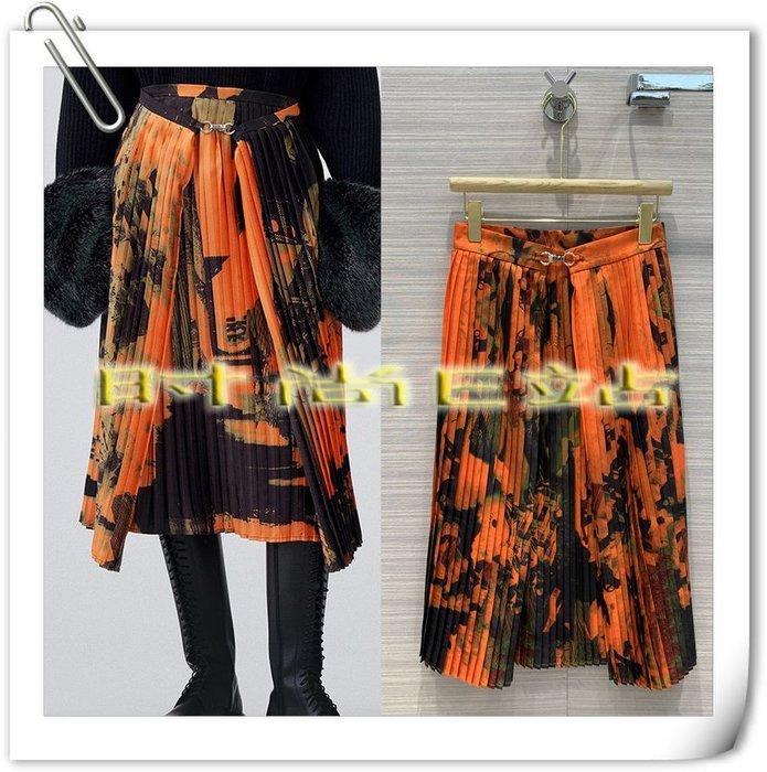 高端版【~SSEZ~】908100649 原單印花壓褶假兩件長半裙  S M L