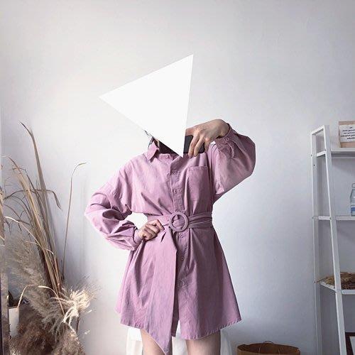 長版襯衫正韓版9125  燈芯絨細條絨 中長襯衫帶腰帶   0.3KG9-30