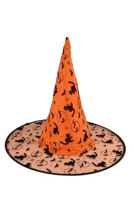 X射線【W405976】植絨尖頂帽(橘),萬聖/派對/舞會道具/角色扮演/巫婆/聖誕/表演/巫師/園遊會/校慶