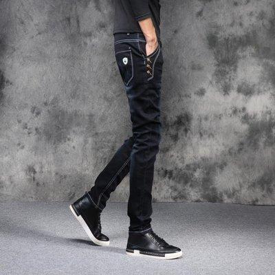 2018新款夏季牛仔褲男士小腳修身彈力韓版潮流學生時尚個性牛子褲