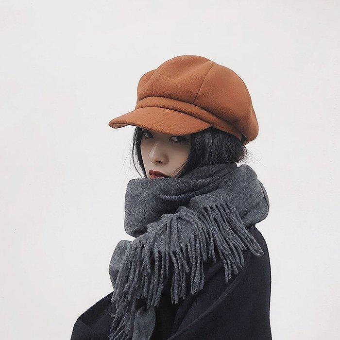 衣萊時尚-熱賣款 加厚ins八角帽子女秋冬韓版百搭時尚英倫冬天潮人畫家報童貝雷帽