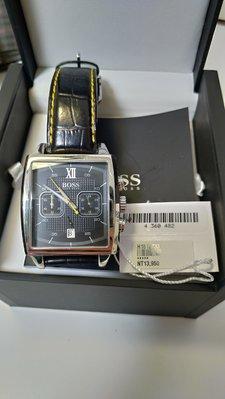 Hugo Boss 奔馳競速三眼計時腕錶-黑x黃指針/40mm