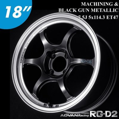 "【Power Parts】ADVAN RACING RG-D2 18"" 7.5J 5x114.3 ET47 鋁圈 MBG"