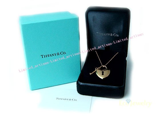 《Eco-jewelry》【Tiffany&Co】專櫃新款 18K玫瑰金愛心鎖與鑰匙項鍊~專櫃真品 近新品
