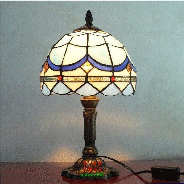 【美學】促銷歐式蒂凡尼檯燈睡房地中海桌燈床頭照明燈具(小號)MX_502