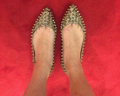 (現貨36.5)Christian Louboutin follies spikes flat 紅底鞋 現貨36.5
