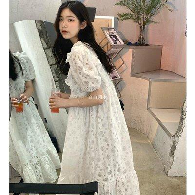 白白開水YUMMY韓系少女夏季春chic復古洋氣重工玫瑰鉤花木耳邊蕾絲連身裙