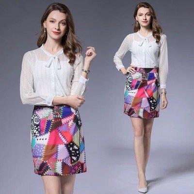 BA05090 新款白色條紋蕾絲系帶長袖透視襯衫時尚印花半身裙套裝女 S-XL