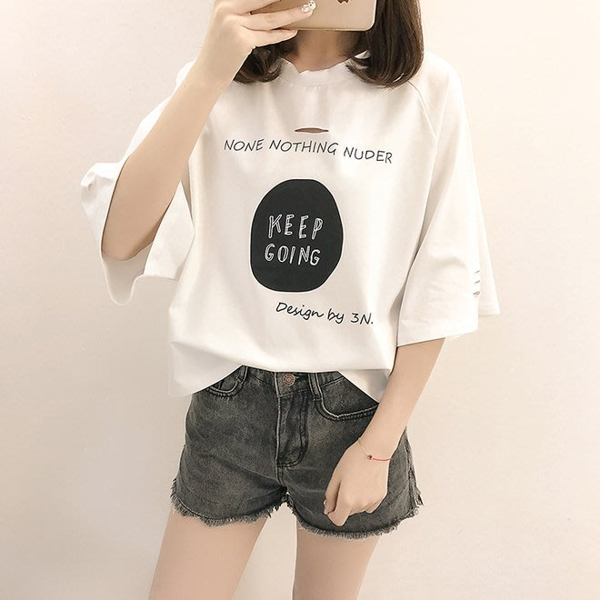 FINDSENSE G6 韓國時尚潮流 少女寬鬆破洞短袖T恤2019春夏裝新款打底休閒女裝上衣打底衫