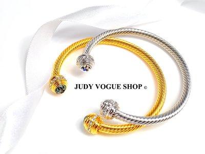 韓國 手環 Vita Fede 風格鑲鑽扭紋手環 歐美時尚 硬式風格 JUDY VOGUE SHOP【JBT-0002】
