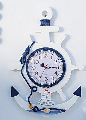地中海船舵大掛鐘 客廳時鐘 兒童房裝飾靜音鐘錶