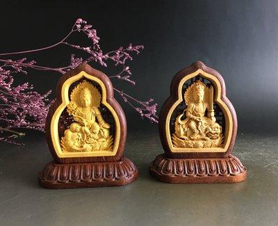 文殊、菩賢 菩薩 - 黃楊木 鑲大紅酸梭  雙面精雕  P2531