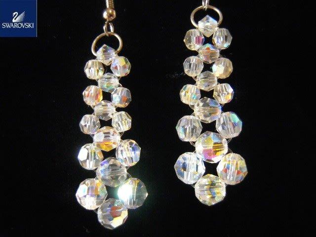 ※水晶玫瑰※ SWAROVSKI 地球珠水晶 耳勾式耳環(DD383)
