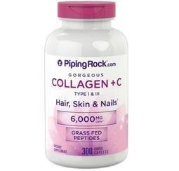 【活力小站】Piping Rock Hydrolyzed Collagen 第一、三型水解膠原蛋白+維他命C 300顆