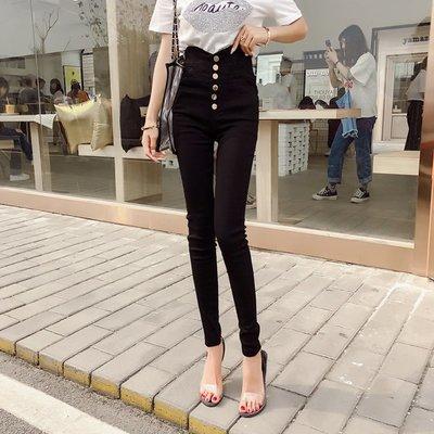 格格家 夏裝新款名媛氣質時尚紐扣門襟高腰鉛筆褲小腳褲彈力褲女