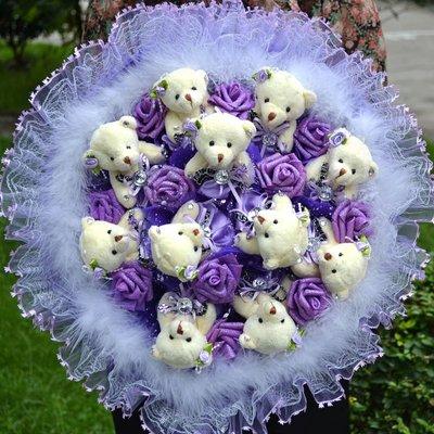 畢業禮物 卡通花束11只小熊11朵玫瑰卡通花束-D66