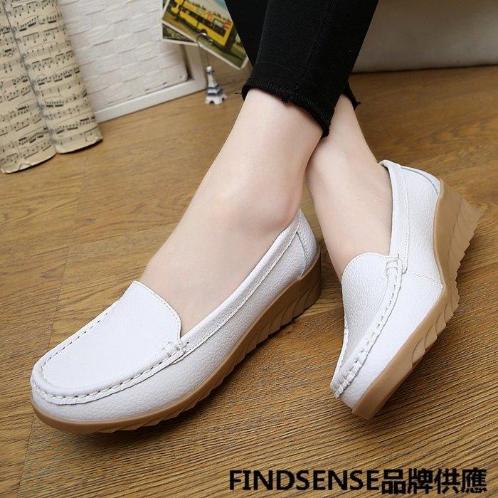 FINDSENSE品牌 四季款 新款 日本 女 高品質 個性  氣質 厚底增高 真皮 舒適 坡跟 休閒鞋  潮流鞋子