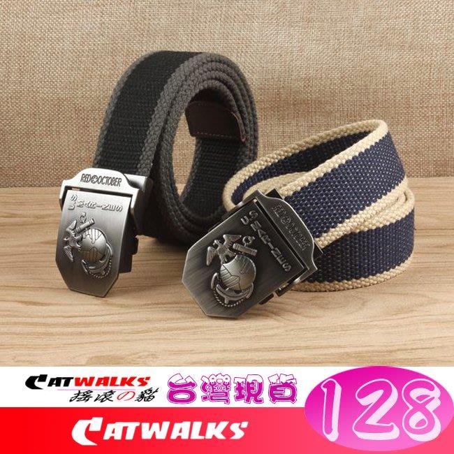 【 Catwalk's 搖滾の貓 】軍規風立體陸戰隊隊徽金屬扣加厚帆布腰帶 15色現貨 台灣發貨