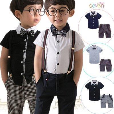 【衣Qbaby】男童禮服韓版花童幼兒園畢業兒童禮服套装 二件套(含領結吊帶)