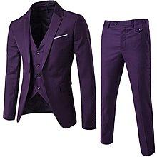 韓版男裝 型男 2019商務休閑西服三件套新郎伴郎婚禮一粒扣西裝套裝紫色 S-6XL