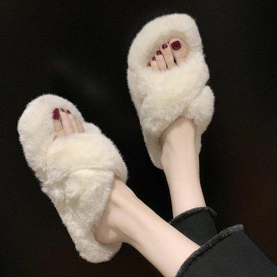 韓版秋冬毛絨絨時尚家用室內一字毛毛棉拖鞋女外穿平底防滑月子鞋