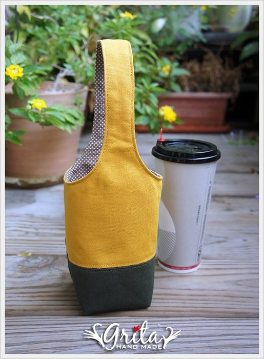 ♥grita's handmade♥手作環保飲料提袋/手搖杯/環保杯袋/隨身提包/帆布包—芥末黃+墨綠雙色(預購)