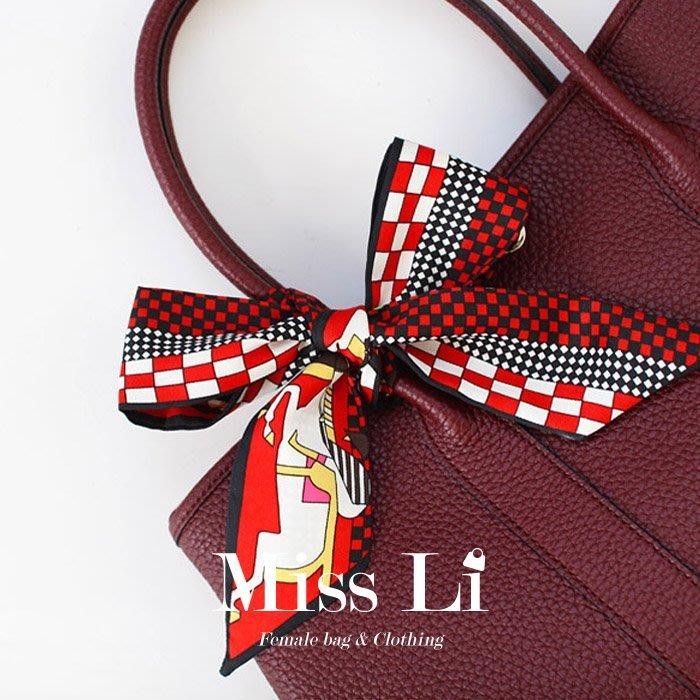 Miss Li【SC-SG80】賽馬騎士格子 包包絲巾/Twilly手把綁巾/手環/髮帶/領巾/生日禮物首選