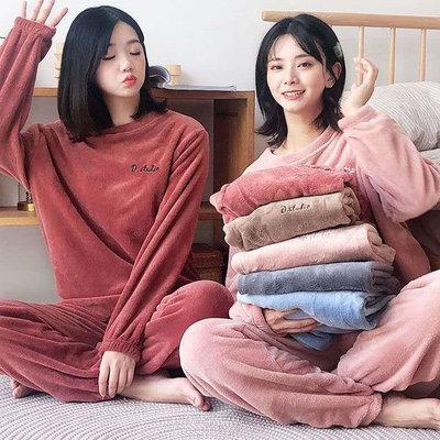糖衣子輕鬆購【BV2026】韓版時尚居家休閒服珊瑚絨睡衣套裝